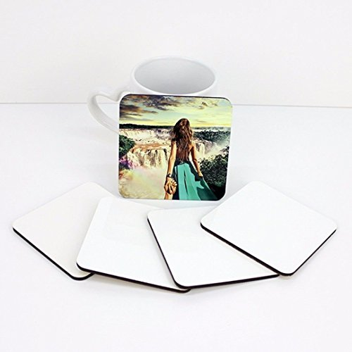 RETERMIT 10 pcs Sublimation Blank DIY Customized MDF Square Coaster Hardboard Coaster Sublimation Coaster Blank Coaster 4by4 (10x10cm)