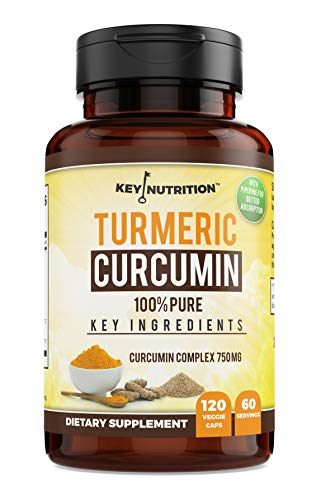 Key Nutrition Turmeric Curcumin Complex with Piperine and Nettle, 100% Pure, Organic - Pain Relief, Anti-Inflammatory, Antioxidant - 120 Capsules