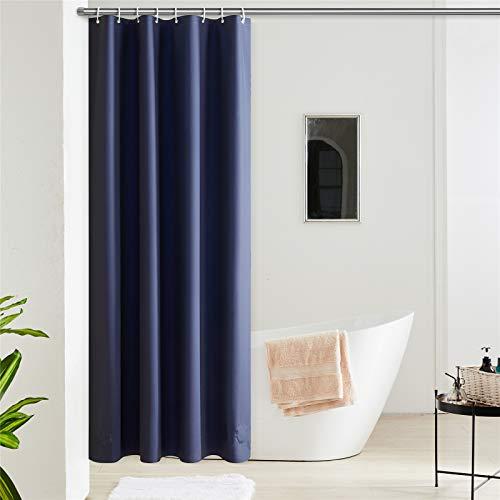 Furlinic Duschvorhang Anti-schimmel Wasserdicht Klein Badvorhang aus Eva 120x180cm Dunkelblau mit 8 Duschvorhangringen Saum mit Steinen.