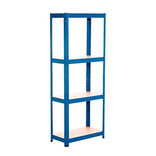 Estantería Azul Metálica Modular con 4 Baldas Ajustables | RDM | Estantería Uso Doméstico | Estantería Multiusos | Dimensiones 148x60x30cm | Aguanta hasta 240Kg