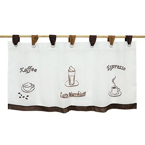 Thinkbay Bestickte kleine Kaffee Vorhang Terri Garn 6 Grosse Gardine H45cm x B90cm