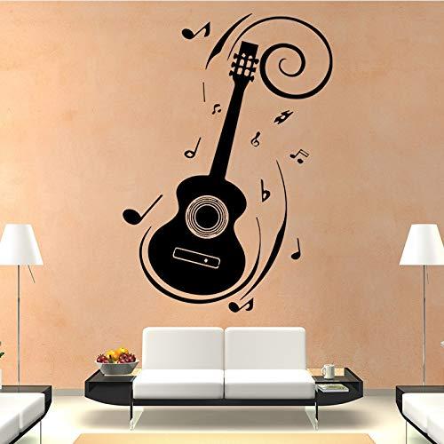 Concise stijl muurstickers mode kunst gitaar muur stickers huisdecoratie woonkamer verwijderbare zelfklevende waterdichte behang 164x116cm Oziyircvw-164x116cm