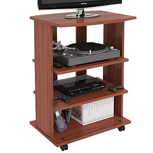 Bakaji Mobile TV in Legno MDF con 3 Ripiani Porta Console Videogiochi DVD e 4 Ruote Mobiletto Carrello Porta Televisore Design Moderno Dimensione 60 x 45 x 80,5 cm (Ciliegio)