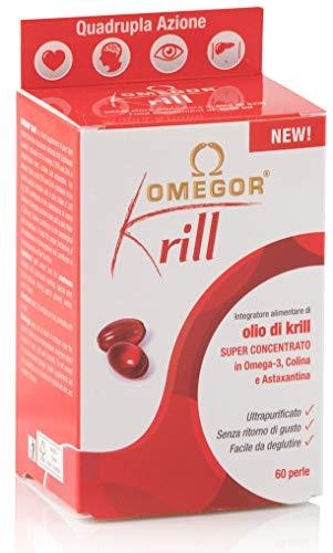 OMEGOR® Krill - 250mg di EPA e DHA, 672 mg di fosfolipidi, 82mg di colina e 100mcg di astaxantina | 60 capsule molli