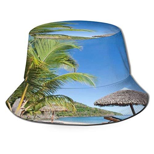 TTLUCKY Angelhut Fischerhut,Tropische Strandlandschaft mit Liegestuhl und Sonnenschirm,Bonie Safari Sonnenhüte zum Wandern im Freien für Männer und Frauen