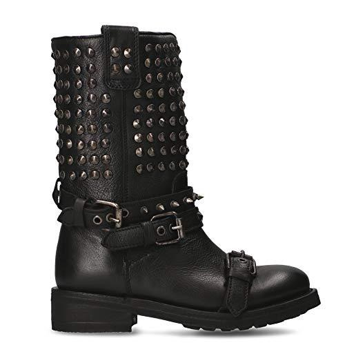Ash Luxury Fashion Femme TROOP01 Noir Cuir Bottes | Printemps-été 20