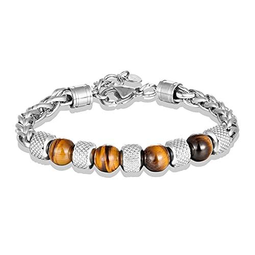 FACHA Regalo de cumpleaños para hombre, pulsera de cadena de piedra natural, pulsera de acero inoxidable, regalo de joyería para hombre (color plata, longitud: 19 cm)