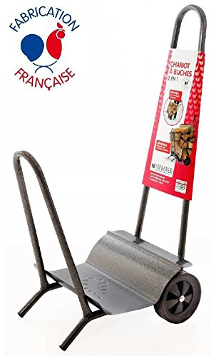 chariot porte buche 100kg metal