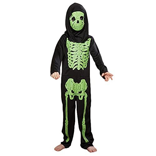 THAT NIGHT Disfraz de esqueleto de Halloween para nios, disfraz de crneo con mono y mscara para cosplay, Negro, Medium