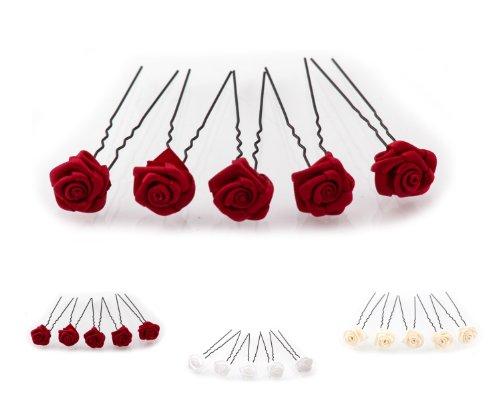 5 épingles à cheveux roses - Accessoires de mariée - couleur noir - Rouge Bordeaux