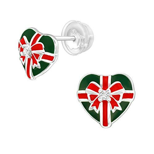 Bungsa Women's Christmas Heart Stud Earrings with Crystal 925 Sterling Silver