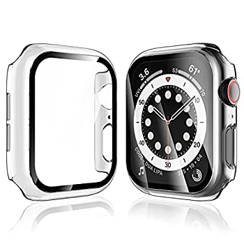 LK 2 Pack Tempered Glass Case Compatible With Apple Watch 40mm SE Series 6 Series 5 Series 4 Built-in Tempered Glass Screen Protector Hard PC Protector Cover for iWatch 40mm Clear  No LK3356