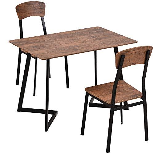 HOMCOM Essgruppe mit 2 Stühlen, Esszimmergarnitur, Sitzgruppe, Tischgruppe, Schwarz, 109 x 70 x 75 cm (Tisch), 50 x 48 x 95 cm (Stuhl)