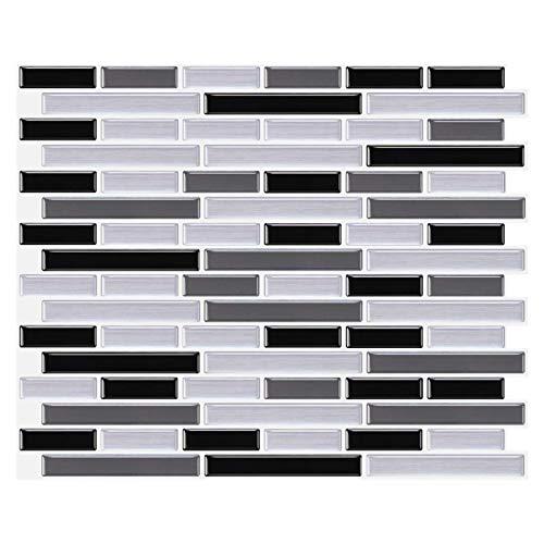 decalmile 10 Stück 3D Fliesenaufkleber 28x23,5cm Schwarz Grau Silber Selbstklebende Wandfliesen Fliesensticker Küche Esszimmer Bad Fliesenfolie Deko