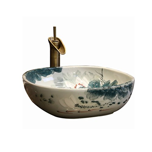 YXB klassiek opzetwastafel badkamer keramische wastafel Chinese plaats Basin opzet- wastafel (42x42x15cm) P3/24