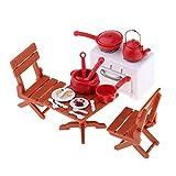 P Prettyia Miniatur Picknick Set Kochgeschirr, Herd, Esstisch und Stühle Modell für 1/12...