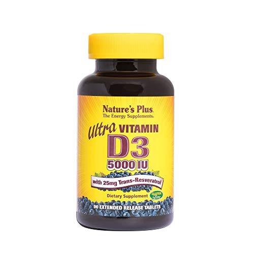 NaturesPlus Ultra Vitamin D3, Extended Release - 5000 iu + 25 mg Trans-Resveratrol, 90 Vegan Tablets - Heart & Bone Health, Immune System Support, Anti-Aging - Gluten-Free - 90 Servings