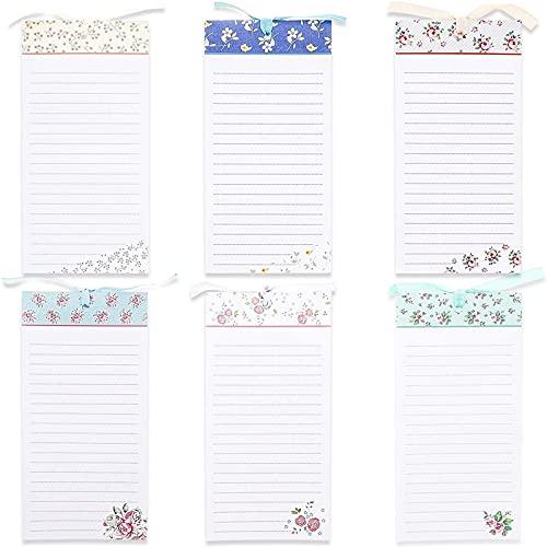 Juvale magnetische Notizblöcke (6 Stück), für To-Do-Listen, Einkaufslisten, Notizen, 6 Blumen-Designs, 10 x 20 cm, 60 Blatt pro Block