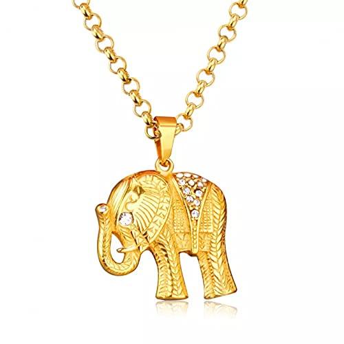 N/A Regalo Colgante de Collar de Mujer JoyasElefante Gargantilla Collar de Cadena Collar de Cristal de Lujo con Colgante de Animales Mujeres