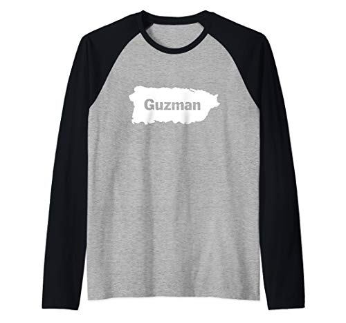 Guzman Last Name, Camisas de Puerto Rico Raglan Baseball Tee