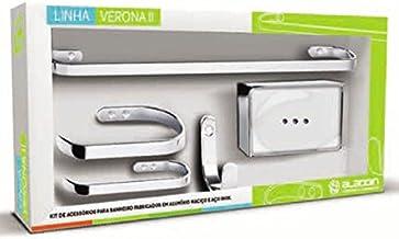 Kit Acessórios de Banheiro 5 Peças Metal Cromado Verona