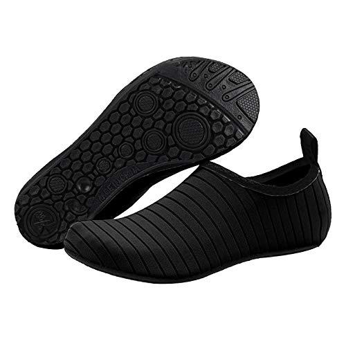 ZYZS Escarpines de baño, zapatos de playa, de secado rápido, transpirables, antideslizantes, para el agua, para hombre y mujer, de secado rápido, para nadar, con malla Negro Medium
