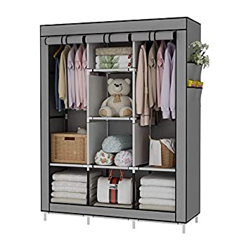 UDEAR Portable Wardrobe Closet Clothes Organizer No-Woven Fabric Cover with 6 Storage Shelves 2 Hanging Sections and 4 Side Pockets,Grey