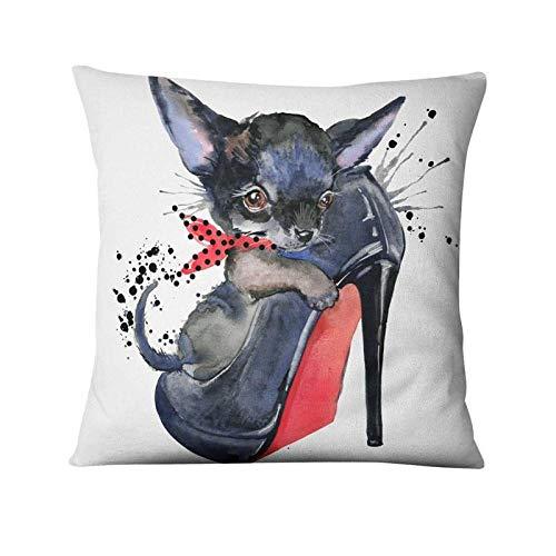 Cojines American Cartoon Pets Lino Impreso Funda de Almohada Bulldog francés Regalos Cojín Cojín Decorativo Hogar 45 × 45cm con núcleo de Almohada