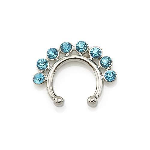 Vault 101 Limited Unecht Septum Klicker Nasen Ring Kein Piercing Anschnallen Nasen Ring Silber with 8 Edelstein Design - Aqua Edelsteine