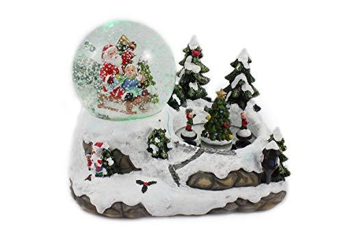 Creation Gross Schneekugel/Spieluhr 100mm, tanzende Kinder, Licht, Schneeantrieb, 15cm