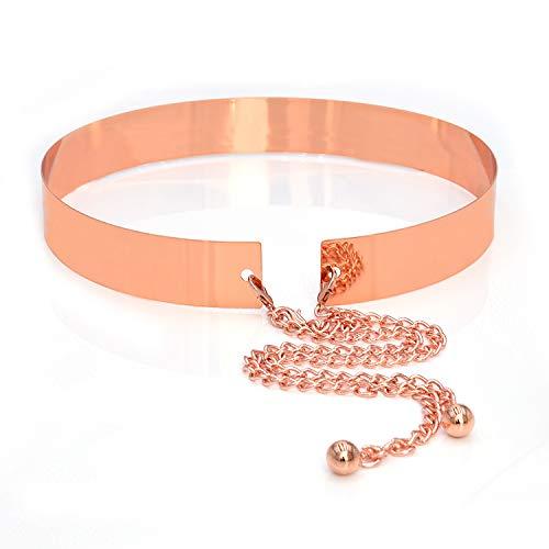 HaoPiDai Rose Gold Belts For Women Waist Belts Metal Mirror Plate Plating Anti-oxidation For Wedding Dresses