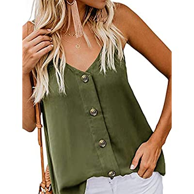 Amazon - Save 55%: RSM &CHENG Women's Button Down V Neck Strappy Tank Tops Loose…