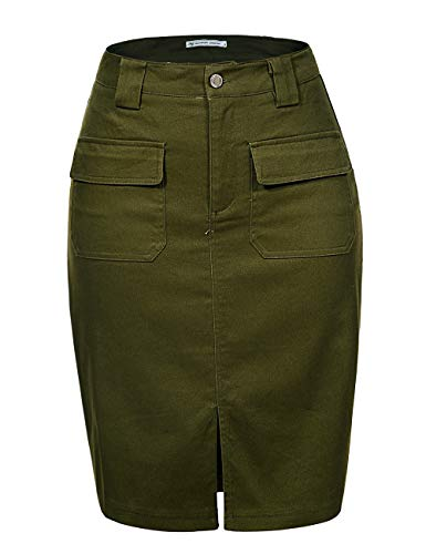 GLOSTORY Women's Knee Length Pencil Skirts with Front Pockets and Slit 1803 (M,Army Green)
