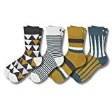 Pair of Thieves Patterned Men's Crew Socks 4 Pack, Triangles, One Size