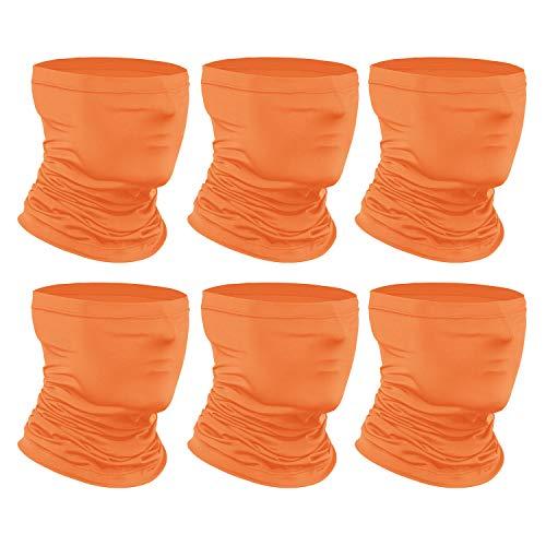 [6-Pack] Neck Gaiter Scarf, Breathable Bandana Face Bandana Cover Cooling Neck Gaiter for Men Women Cycling Hiking Fishing. Orange