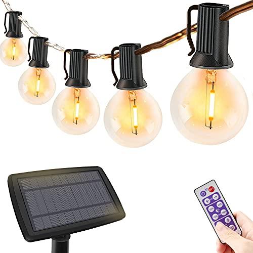 Guirnaldas Luces Exterior Solar con control remoto, 10m G40 30+3 LED Bombillas, Cadena de Luz regulables, IP44 Impermeable Luces Decoración para Garden, Jardín, Terraza