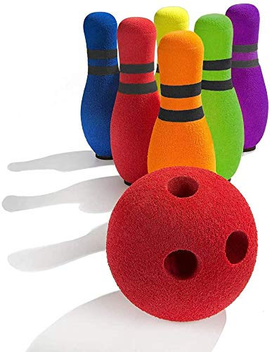 FOREVIVE Kids Bowling Set Indoor Outdoor Children s Bowling Set Bowling Games Kids Toys Age 3, 4, 5 Years Old Boys and Girls (6 Pins and 1 Ball)
