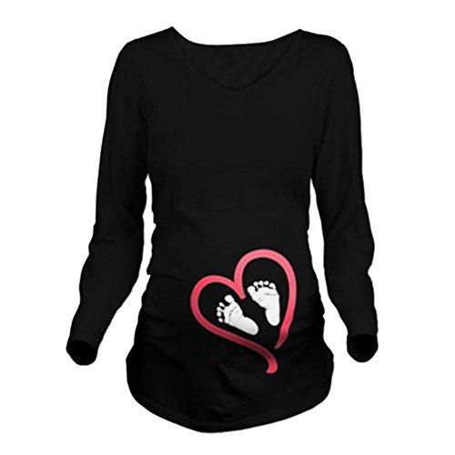Q.KIM Camiseta Divertido Estampada de Manga Larga Premamá para Mujer Embarazo Lactancia T-Shirt (XXL, Foot, Negro)