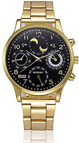 JZDH Mano Reloj Reloj de Pulsera analógico Reloj de Pulsera de Cuarzo Moda Hombre Buceo Camping Cristal Acero Inoxidable Reloj Reloj Masculino Relojes Decorativos Casuales (Color : B)