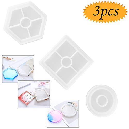 Blueesees Lot de 3 moules en silicone pour dessous-de-verre rond, carré, hexagonal, support inférieur pour éviter la déformation, moules pour mouler avec de la résine, du béton, du ciment
