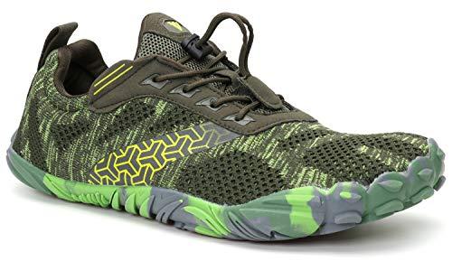 WHITIN Men's Trail Running Shoes Minimalist Barefoot 5 Five Fingers Wide Width Toe Box Gym Workout Fitness Low Zero Drop Male Lightweight Minimus Tennis Flat Comfort Green Size 9.5