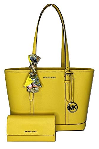 Bundle of 3 items: MICHAEL Michael Kors Jet Set Travel SM TZ Shoulder Tote bundled with Michael Kors Jet Set Travel Large Trifold Wallet and Couture du Jour Skinny Scarf Zip top, Dual leather adjustable handle straps with approx. 8'' drop Interior : ...