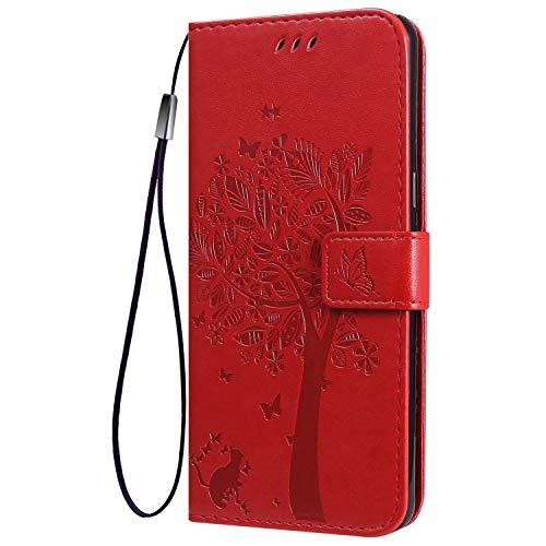 FANFO® Standfunktion Hülle für Google Pixel 4a 4G (5.81'') Handyhülle, PU Leder Magnetschnalle Schutzhülle Flip Wallet Klapphülle Tasche Hülle Cover, Rot