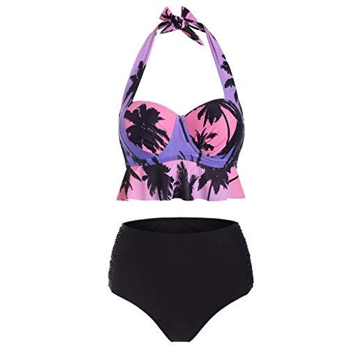 serliy Badeanzug Damen Bikini Set Push up,Sexy Kokosnussbaum Druck Geteilter High Waist Bikini,Zweiteiliger Badeanzug,Bademode,Bikinioberteil,Bikinihose