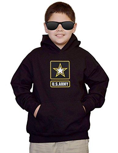 Interstate Apparel Youth US Army Logo Black Kids Sweatshirt Hoodie Large
