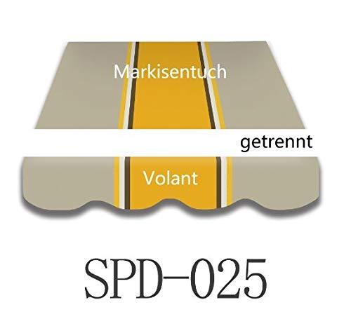Home & Trends Markisen Tuch Markisenbespannung Ersatzstoffe Maße 3 x 2.5 m Markisenstoffen mit Volant fertig genäht mit Umrandung (SPD025)