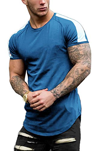 COOFANDY Mens Designer Fitted T-Shirts Long Drop Cut Tee Workout Gym Tees Blue S