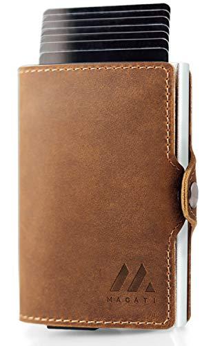 MAGATI Slim Wallet MANI - Kreditkartenetui mit Münzfach - Geldbörse, Geldbeutel aus Echt-Leder mit Fundservice, Geldscheinklammer und RFID-Schutz Dunkelbraun