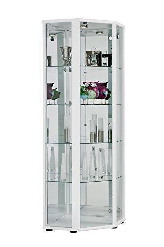 K-Möbel Eckvitrine (176x56,5x56,5 cm) in Weiss mit 4 Glasböden aus ESG, LED, Schloss und Spiegel; beleuchtet; perfekt für Sammler;