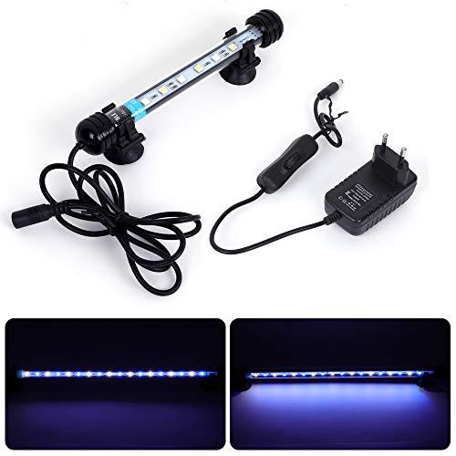 MLJ Acuario LED Iluminación, Iluminación LED para Acuarios Plantados Lámpara LED para Peceras Resistente al Agua Luz para (Deutschland Lagerhaus) (18cm, Blanco y Azul)